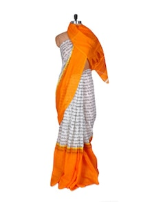 White And Orange Linen Silk Saree - Fabdeal