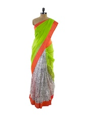 Lovely Green Half And Half Super Net Saree With Quirky Fan Print - Pothys