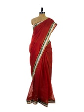 Bright Red Super Net Saree - Pothys