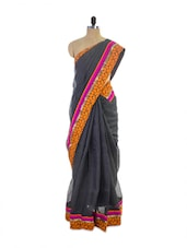 Amazing Pink Black Super Net Saree With Stunning Orange And Pink Border - Pothys