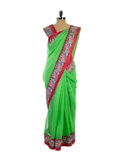 Green Party Wear Super Net Saree - Pothys
