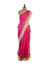 Gorgeous Pink Super Net Saree With Stunning Border - Pothys