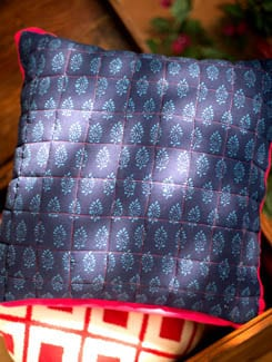 Block Printed Cushion Cover With Pink Border - Almari Lifestyles