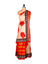 Vibrant Cream And Red Floral Print Saree - Saraswati