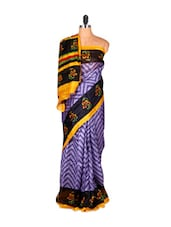Mauve Chevron Print Saree With Floral Border - Saraswati