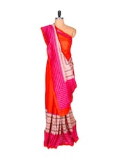 Vibrant Orange And Pink Printed Saree - Saraswati