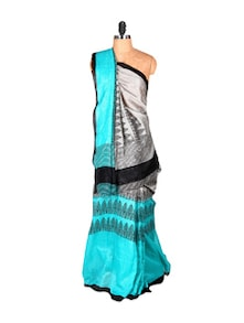 Light Grey And Sky Blue Printed Saree - Saraswati