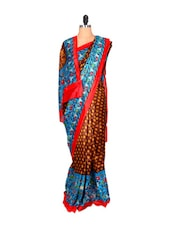 Brown And Yellow Polka Dot Saree - Saraswati