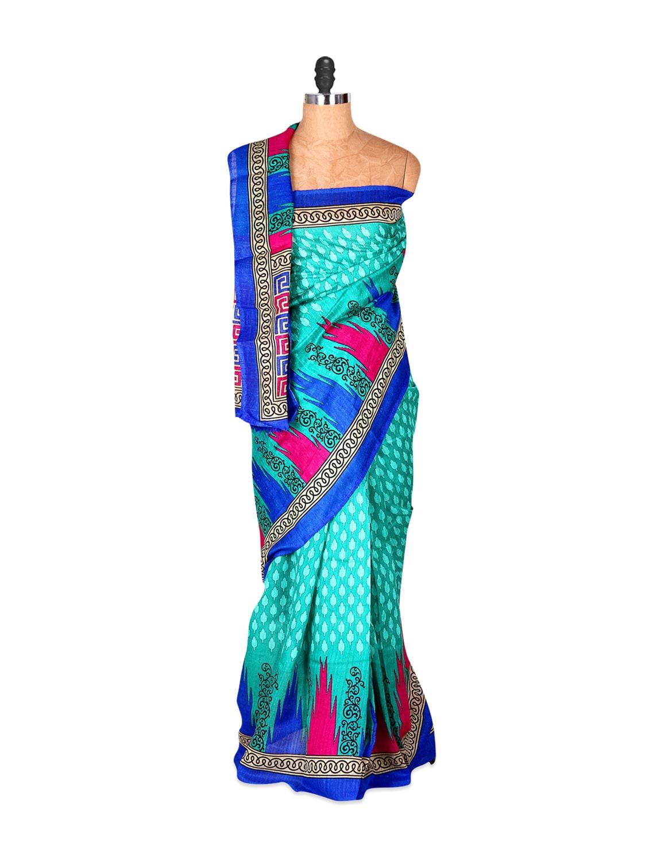 Glossy Sky Blue Printed Saree - Saraswati