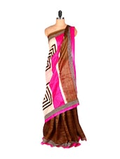 Brown And Pink Printed Saree - Saraswati