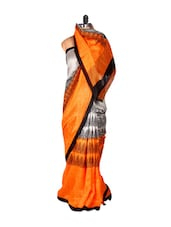 Orange and Silver Printed Saree