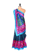 Blue And Green Polka Dot Saree With Floral Aanchal - Saraswati