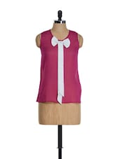 Sleeveless Purple Bow Top - Golden Couture