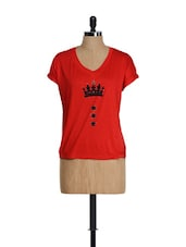 V-neck Red T-shirt - Golden Couture