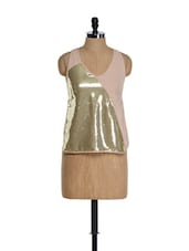 Gold Sequined Back Knot Top - Golden Couture