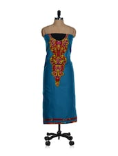 Unstitched Blue Kurta With A Red And Purple Placket And A Chiffon Dupatta - Home Of Impression