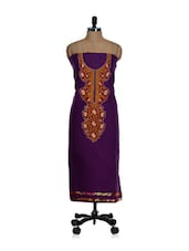 Unstitched Purple Kurta With A Red And Orange Placket And A Chiffon Dupatta - Home Of Impression