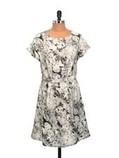 Grey And Cream Rose Print Summer Dress - La Zoire