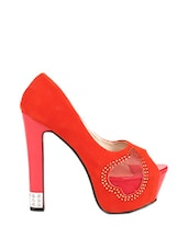 Absolute Classy Red High Heels With Mesh Detailing - Reyna