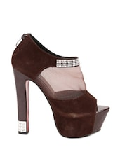 Dazzling Brown Peep Toes With Ultra High Heels With Mesh Detailing - Reyna