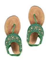Green Embellished Flats  With Sequins And Beads - Reyna