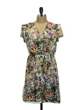 Tropical Print Overlap Dress - La Zoire