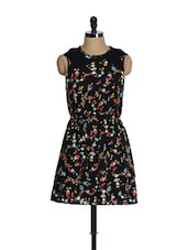 Floral Printed Black Dress - La Zoire