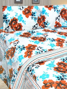 Blue Floral Print Bedcover Set - Cosmos Galaxy