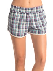 Set Of Multicolor Check Shorts & Purple Top - PrettySecrets