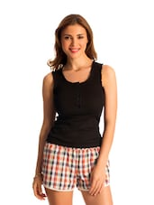 Set Of Orange And White Check Shorts & Black Top - PrettySecrets