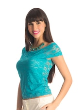 Scuba Blue Lace Body-Con Top - PrettySecrets