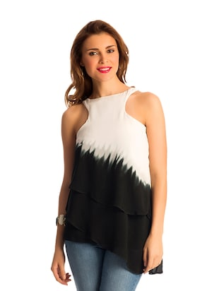 White and Black Ombre Layered Top