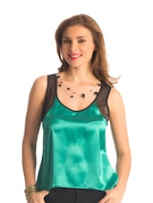 Emerald Green Mesh High Low Hem Top - PrettySecrets