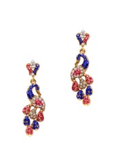 Colourful Crystal Studded Peacock Earrings - Subh