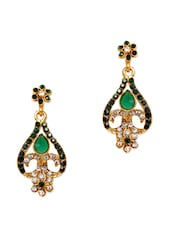 Crystal Studded Floral Earrings - Subh