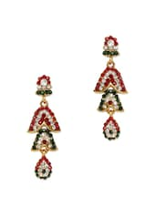 Bright Crystal Studded Long Earrings - Subh
