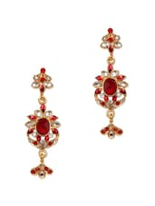 Red And White Crystal Long Earrings - Subh