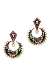 Multicoloured Crystal Studded Chaandbali Earrings - Subh