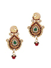 Heavy Crystal Studded Peacock Earrings - Subh