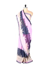 Grey Flowers Pink Chiffon Saree - Fabdeal