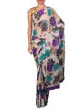 Off White Floral Printed Dani Georgette Saree - By