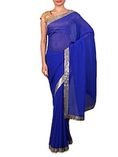 Solid Blue Chiffon Saree With Sequined Border - Fabdeal