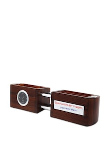 Brown Wooden 2 Pcs Quote Pen Stand - Cosmos Galaxy