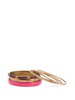 Pink, Purple and Gold Bangles (Set of 6) - Toniq