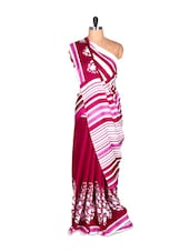 Magenta And White Saree With Blouse Piece - PetraFab
