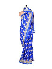 Blue And Beige Saree With Blouse Piece - PetraFab