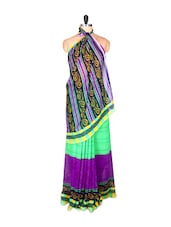 Bright Printed Saree With Blouse Piece - PetraFab