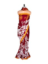 Maroon Printed Saree With Blouse Piece - PetraFab