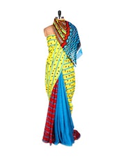 Printed Yellow And Blue Saree With Blouse Piece - PetraFab