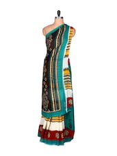 Multicoloured Printed Saree With Blouse Piece - PetraFab
